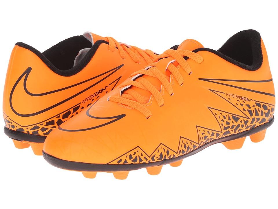 Nike Kids - Jr Hypervenom Phade II FG Soccer (Little Kid/Big Kid) (Total Orange/Black/Total Orange) Kids Shoes