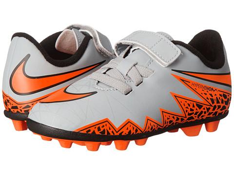 Nike Kids - Jr Hypervenom Phade II (V) FGR Soccer (Toddler/Little Kid) (Wolf Grey/Black/Total Orange) Kids Shoes