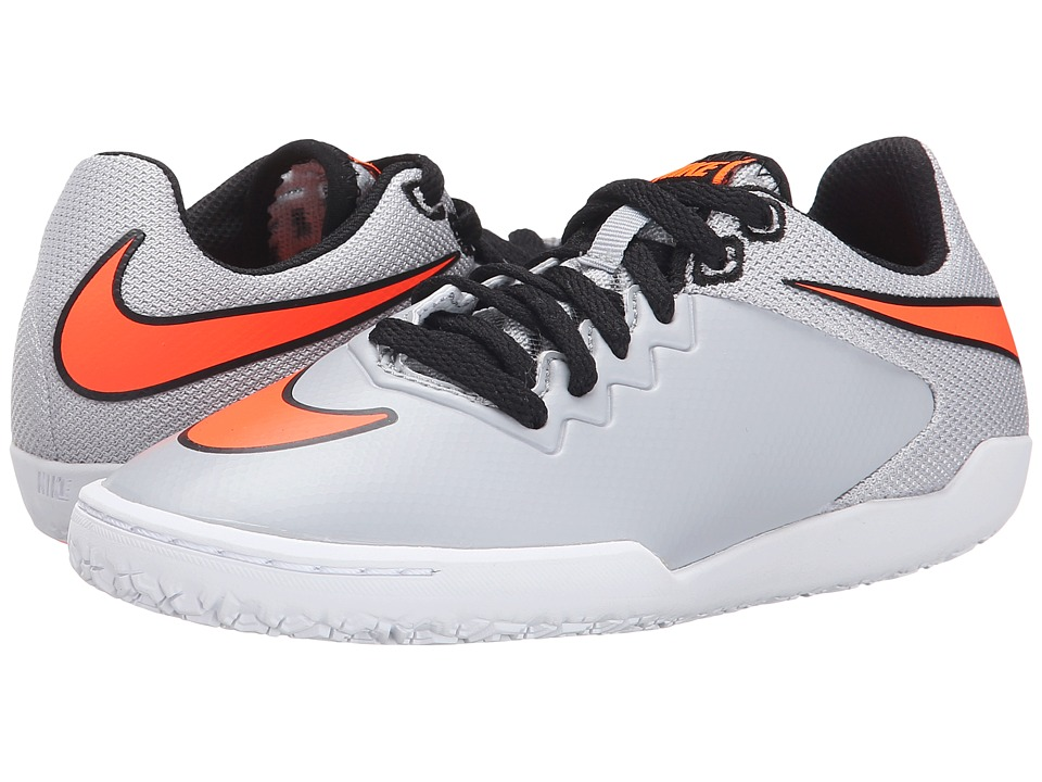 Nike Kids - Jr Hypervenom Pro IC Soccer (Little Kid/Big Kid) (Wolf Grey/White/Total Orange) Kids Shoes