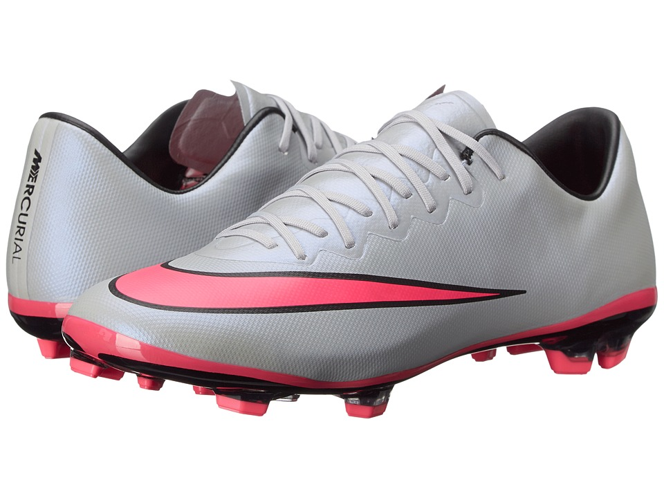 Nike Kids - Jr Mercurial Vapor X FG Soccer (Big Kid) (Wolf Grey/Black/Hyper Pink) Kids Shoes