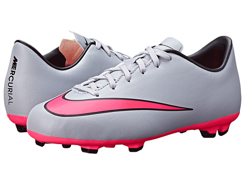 Nike Kids - Jr Mercurial Victory V FG Soccer (Little Kid/Big Kid) (Wolf Grey/Black/Hyper Pink) Kids Shoes
