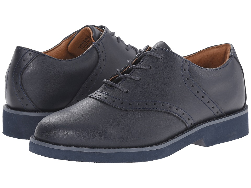School Issue - Upper Class (Toddler/Little Kid/Big Kid) (Navy Leather Saddle) Girl's Shoes