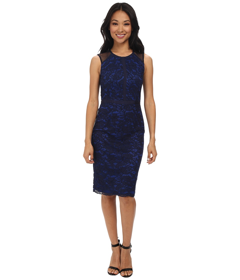 Maggy London - Lace Sheath w/ Mesh Detail (Navy) Women