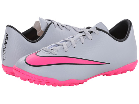 Nike Kids - Jr Mercurial Victory V TF Soccer (Wolf Grey/Black/Hyper Pink) Kids Shoes