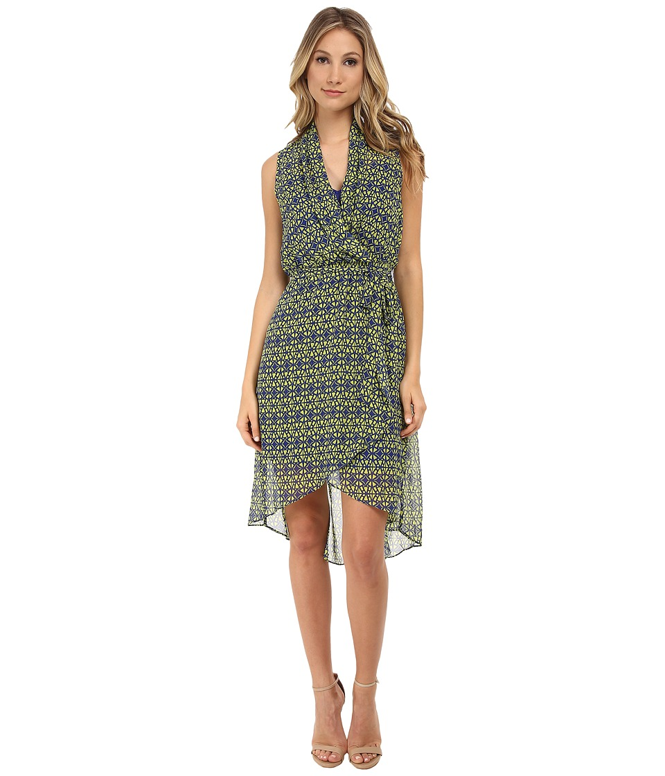 KUT from the Kloth - Surplus Hi-Low Hem with Tie (Blue/Lime) Women's Dress