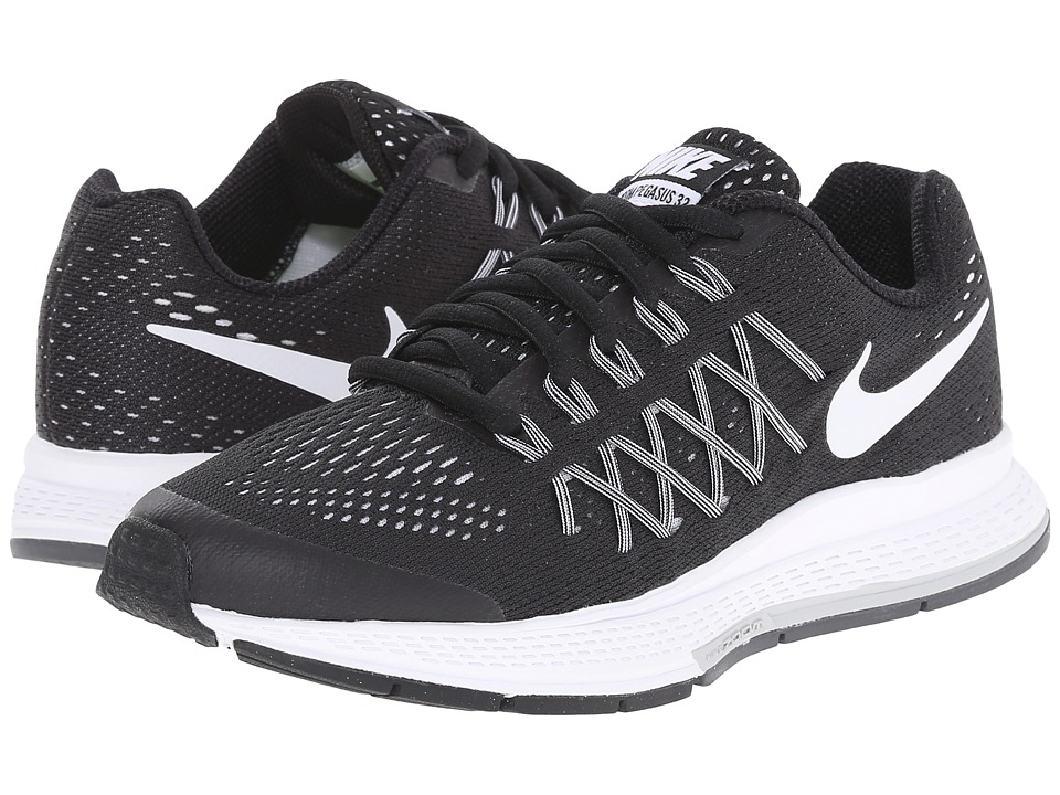 Nike Kids - Zoom Pegasus 32 (Big Kid) (Black/Dark Grey/Pure Platinum/White) Boys Shoes