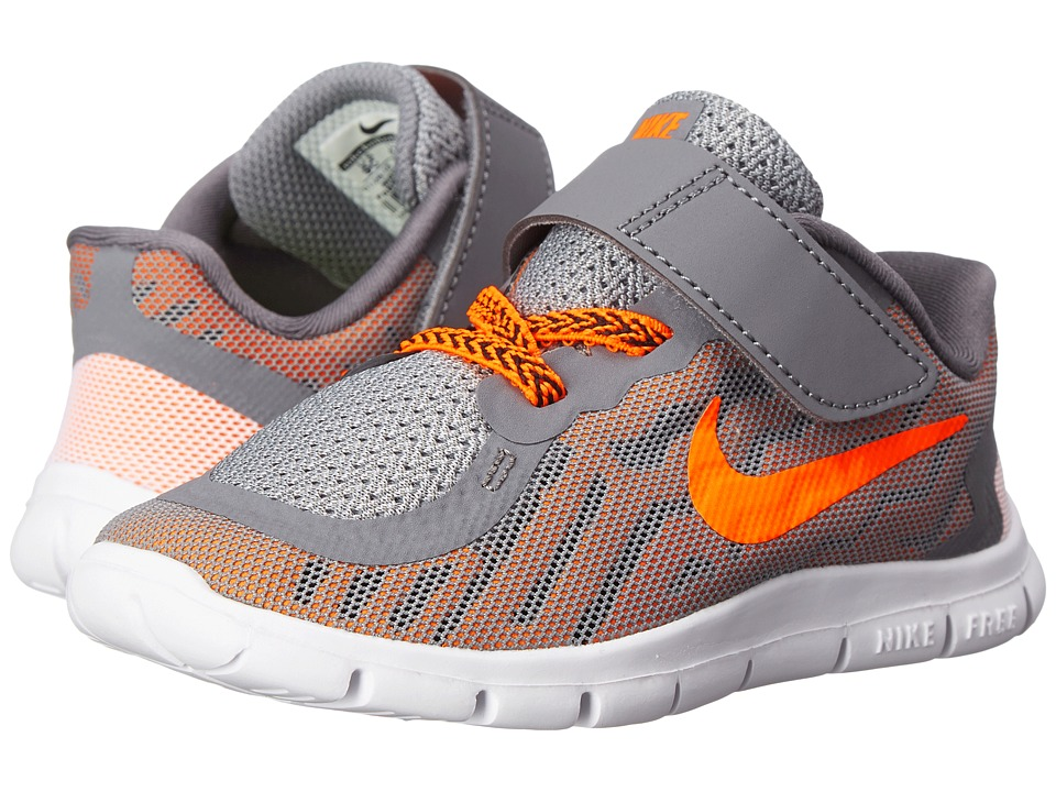 Nike Kids - Free 5 (Infant/Toddler) (Cool Grey/Bright Citrus/Hyper Crimson/Total Orange) Boys Shoes