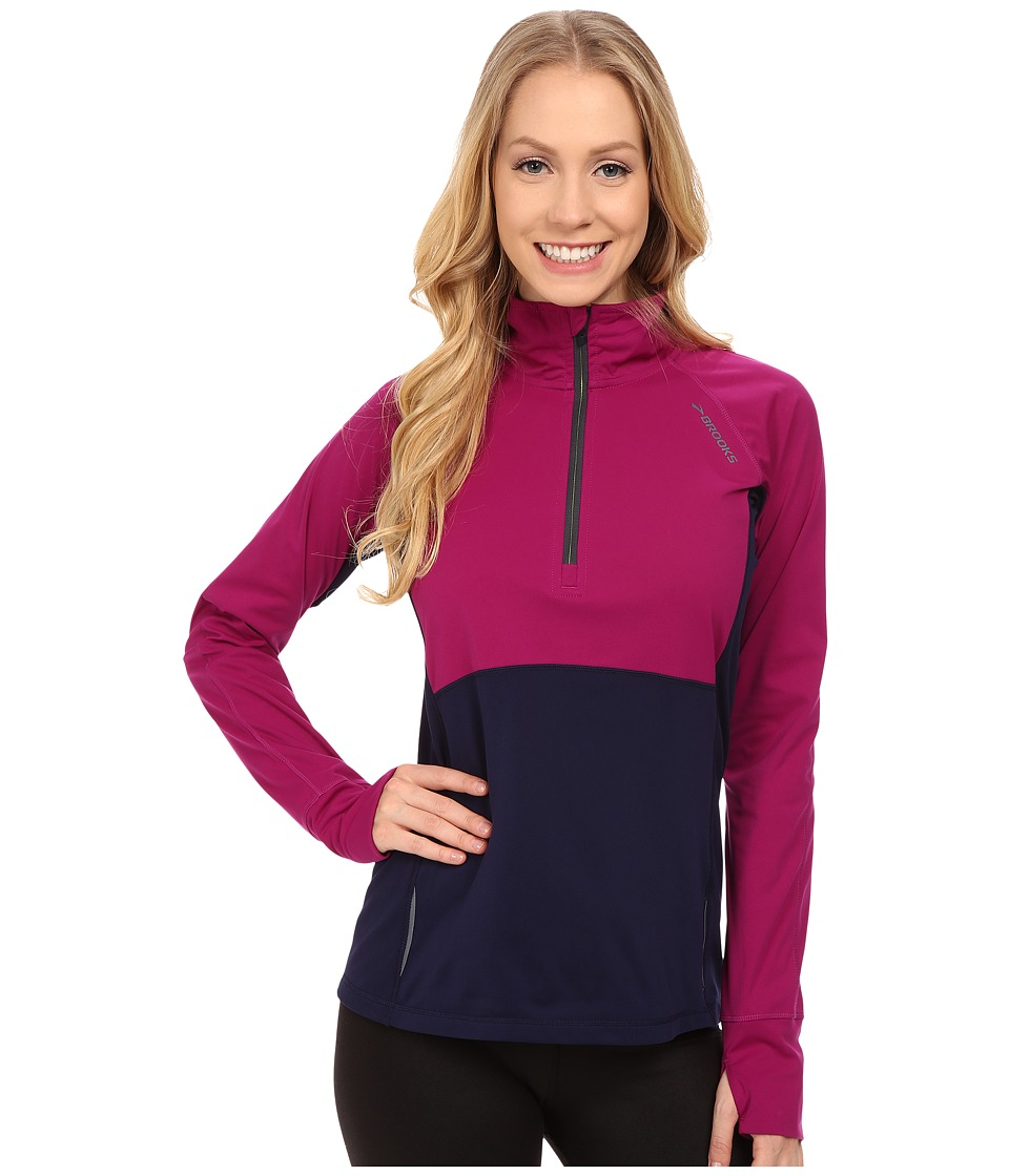 Brooks - Drift 1/2 Zip (Currant/Navy) Women's Long Sleeve Pullover