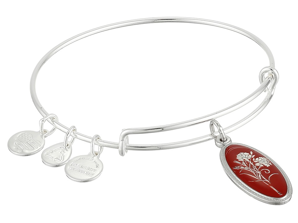 Alex and Ani - Love Spell Carnation Expandable Wire Bangle (Shiny Silver Finish) Bracelet