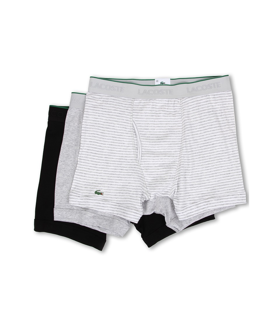 Lacoste - Essentials 3-Pack Boxer Brief (Grey Stripe/Grey/Black) Men's Underwear