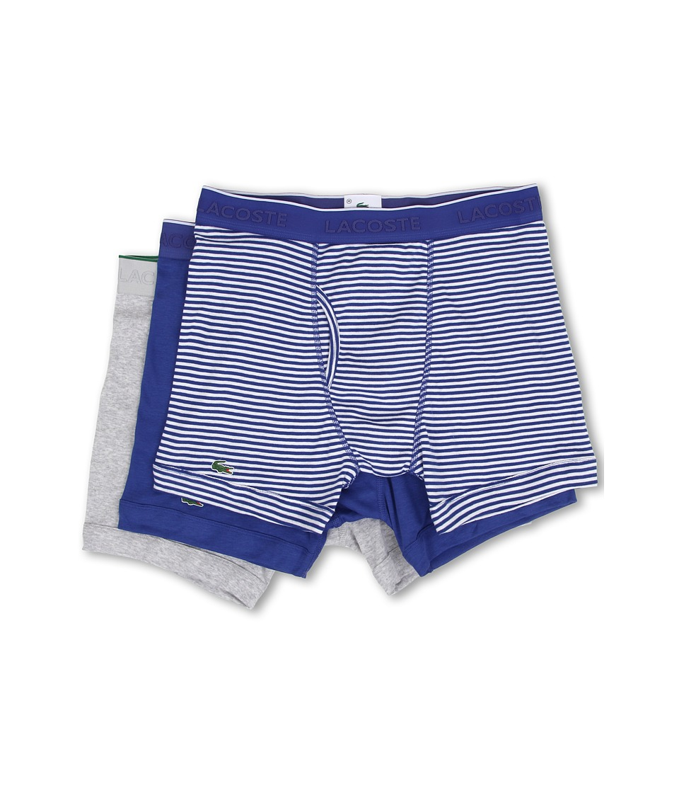 Lacoste - Essentials 3-Pack Boxer Brief (Blue Stripe/Blue/Grey) Men's Underwear