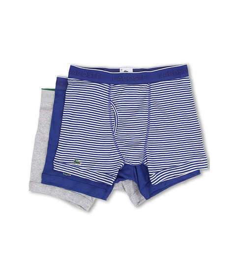 Lacoste - Essentials 3-Pack Boxer Brief (Blue Stripe/Blue/Grey) Men