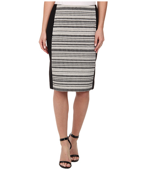 Calvin Klein - Jacquard Pencil Skirt (Black/White) Women