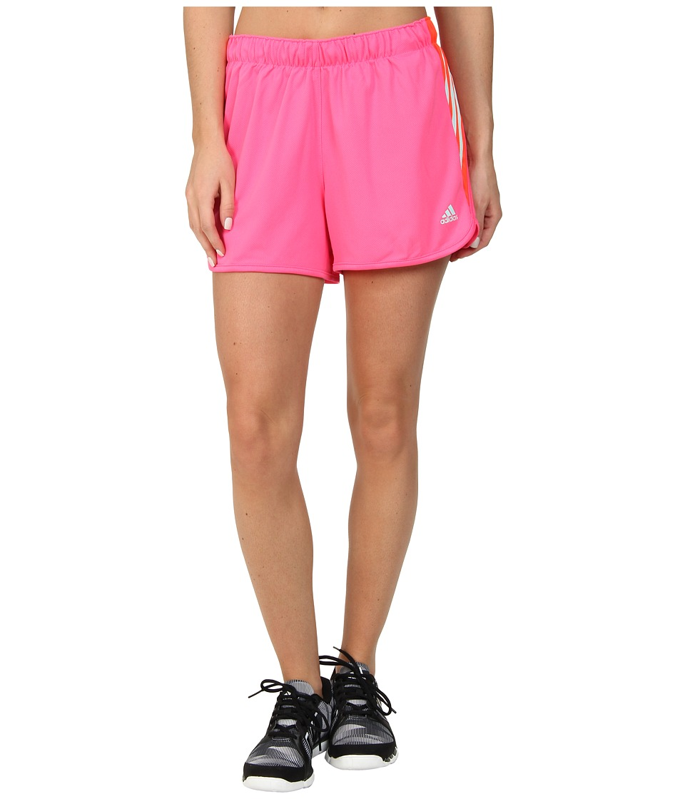 adidas - Ultimate 3-Stripes Knit Shorts (Solar Pink/Frost Mint) Women's Workout
