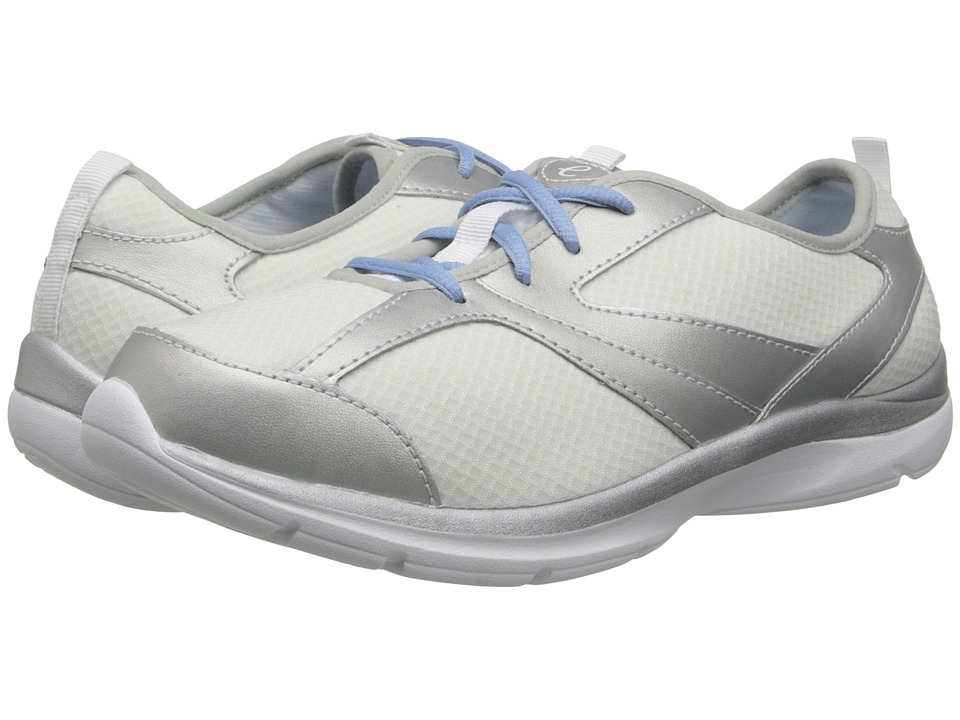 Easy Spirit - Quatro (White/Silver Fabric) Women