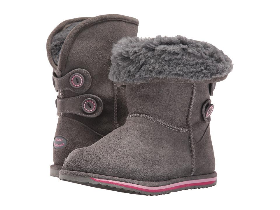 EMU Australia Kids Charlotte (Toddler/Little Kid/Big Kid) (Charcoal) Girls Shoes