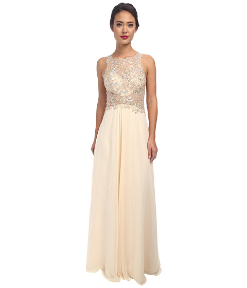 Faviana - Glamour Chiffon with Lace Bust S7533 (Champagne) Women's Dress