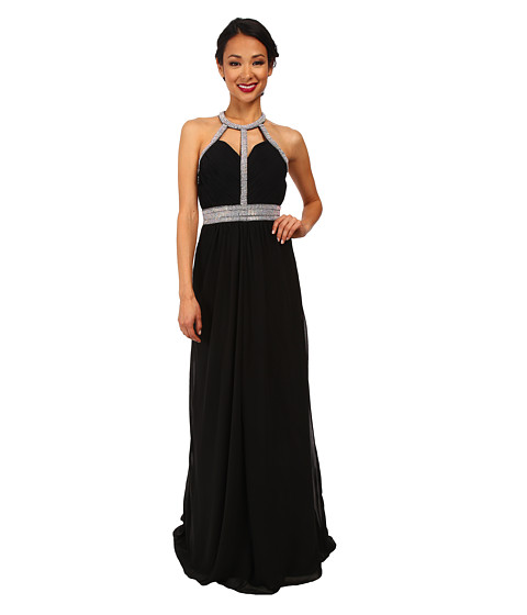 Faviana - Chiffon High Neck Strap Dress 7514 (Black) Women