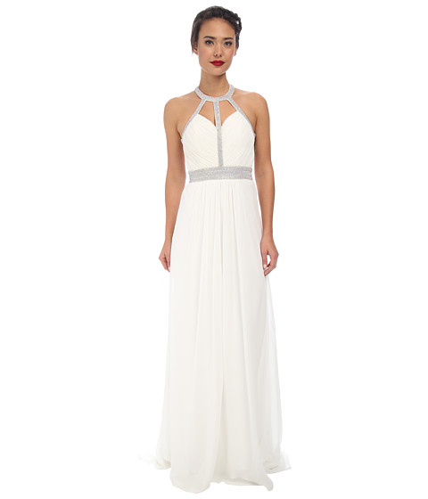Faviana - Chiffon High Neck Strap Dress 7514 (Ivory) Women's Dress