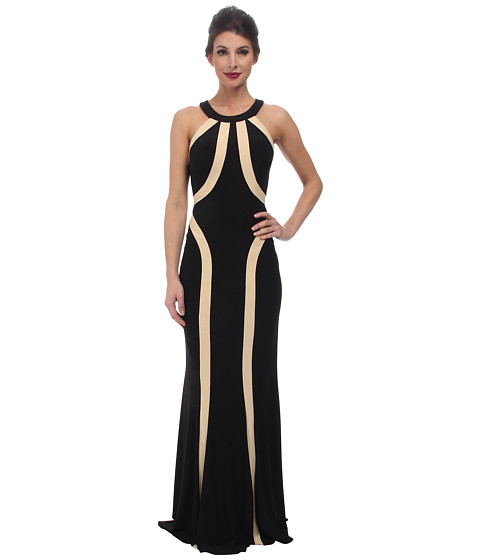 Faviana - Jersey Two-Tone Scoop Neck Dress 7573 (Black/Nude) Women's Dress