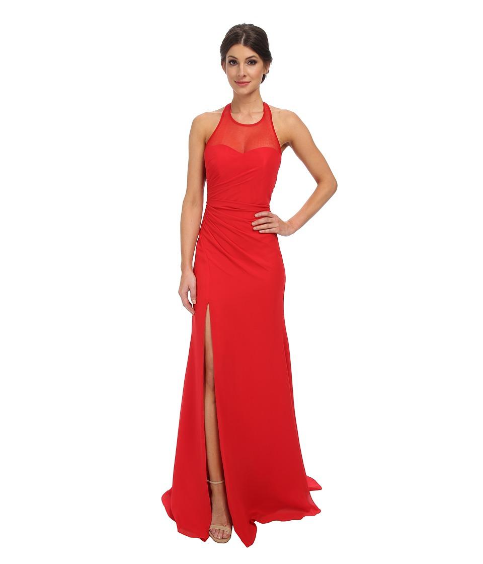 Faviana - Chiffon Plain High Neck Dress 7583 (Red) Women