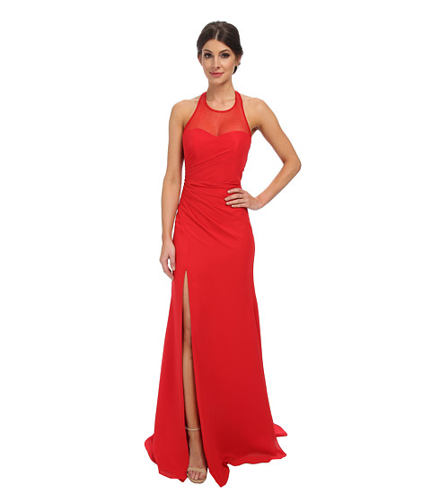 Faviana - Chiffon Plain High Neck Dress 7583 (Red) Women