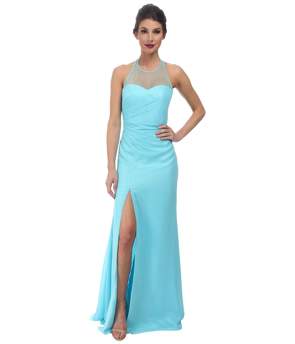 Faviana - Chiffon Plain High Neck Dress 7583 (Tiffany) Women's Dress