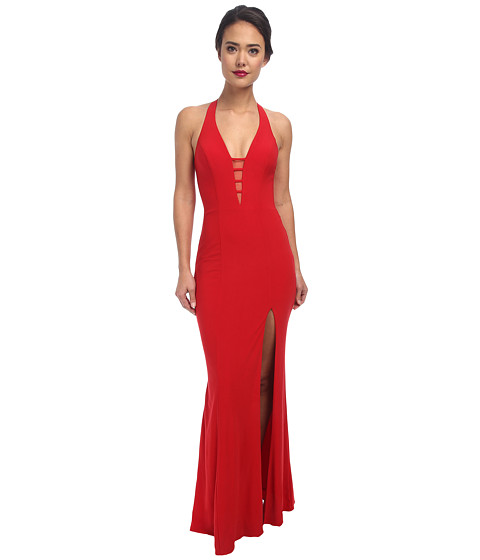 Faviana - V-Neck Chiffon Dress 7540 (Red) Women's Dress