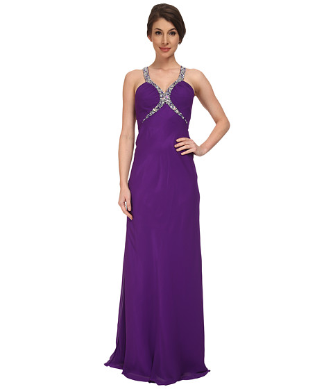 Faviana - Chiffon V-Neck Shirred Bust Dress 7519 (Purple) Women