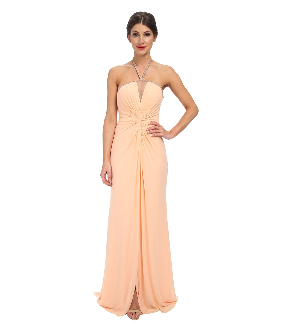 Faviana - Mesh Front Not Dress 7529 (Peach) Women