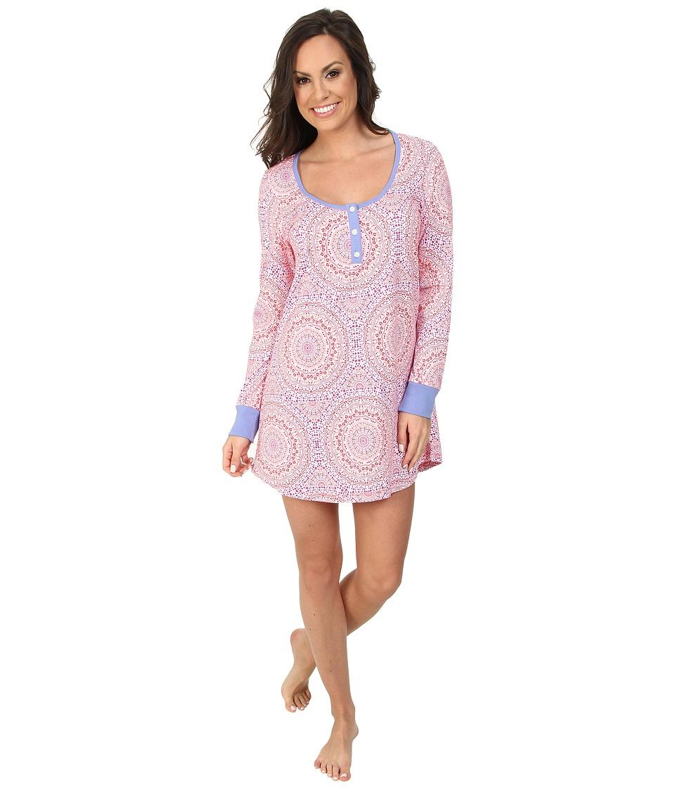 BedHead - Long Sleeve Henley Nightshirt (Kaleidescope Hearts) Women