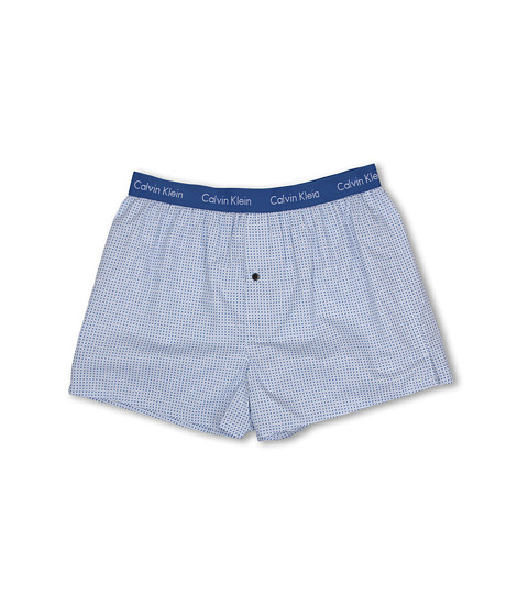 Calvin Klein Underwear - Matrix Woven Slim Fit Boxer U1513 (Dot Grid Print/Lagoon Blue) Men