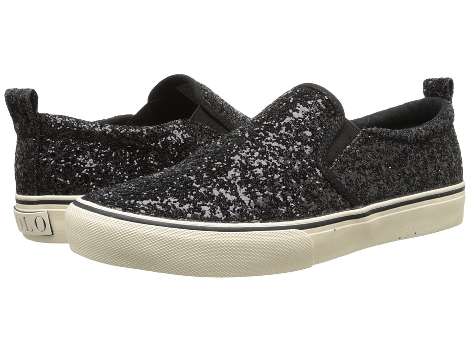Polo Ralph Lauren Kids Carlee Twin Gore (Little Kid/Big Kid) (Black Glitter) Girls Shoes
