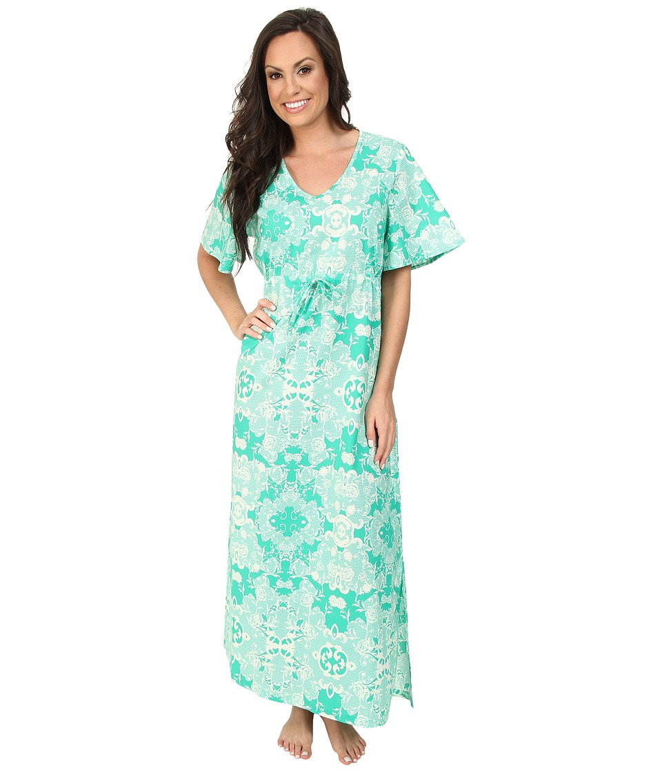 BedHead - Short Sleeve Tie Waist Caftan (Green Floral Mesh) Women's Pajama plus size,  plus size fashion plus size appare