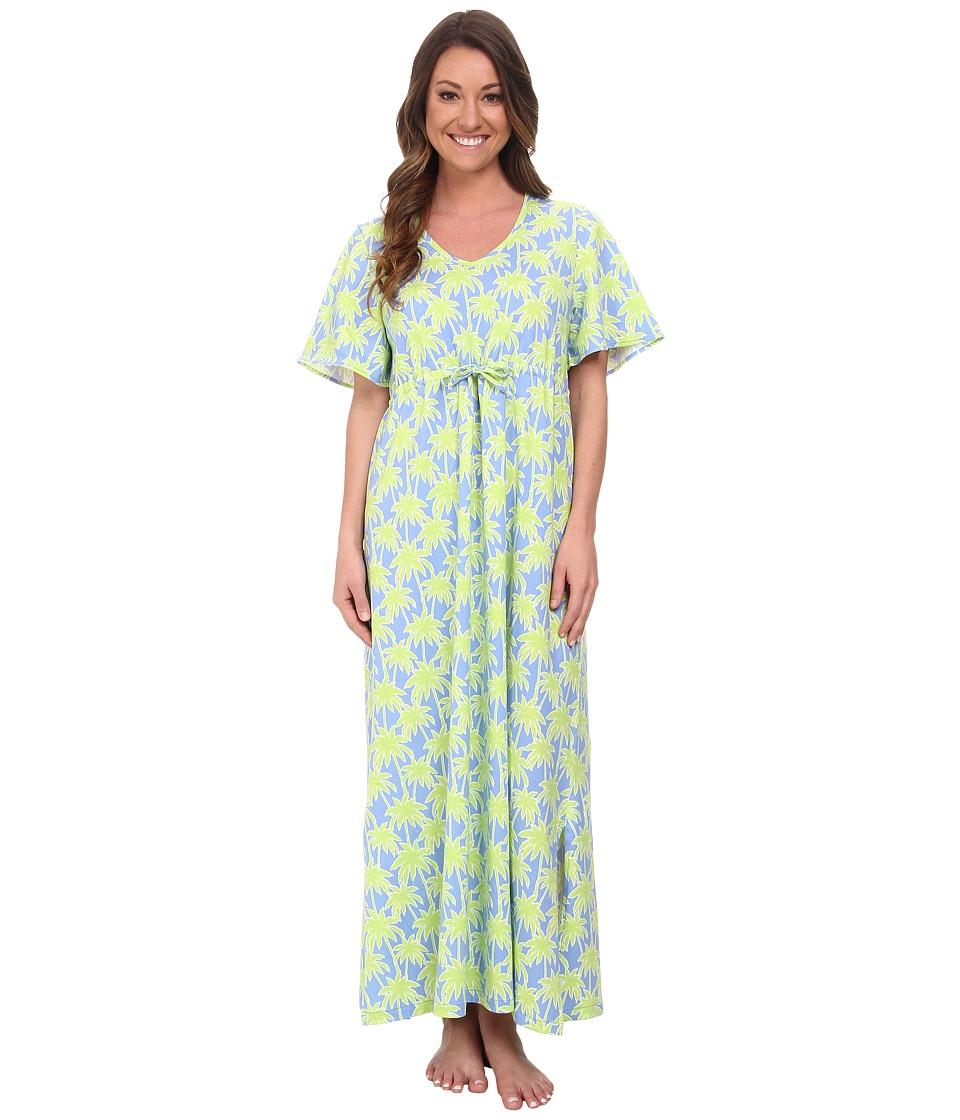 BedHead - Short Sleeve Tie Waist Caftan (Periwinkle Palm Tree) Women's Pajama plus size,  plus size fashion plus size appare