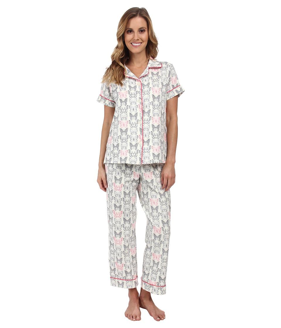 BedHead - Short Sleeve Notch Collar and Capri (Black/White Butterflies) Women's Pajama Sets
