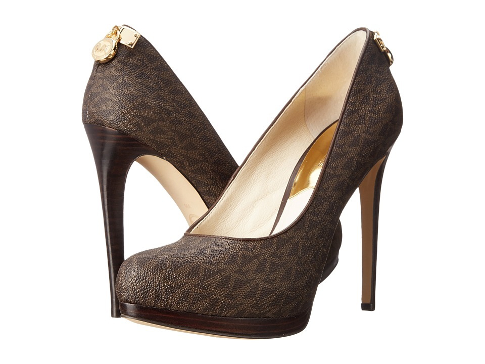 MICHAEL Michael Kors - Hamilton Pump (Brown Mini MK Sig PVC/Nappa) High Heels