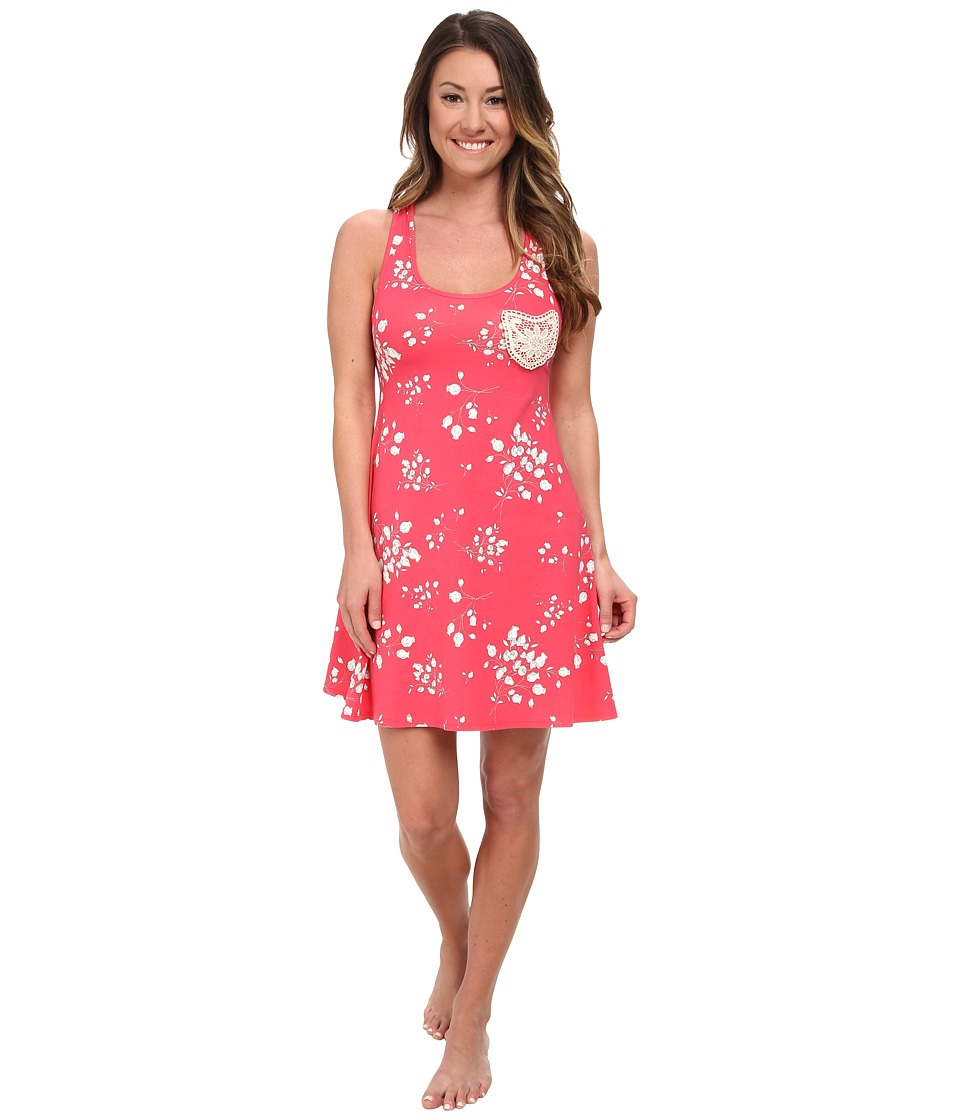 BedHead - Tank Nightdress w/ Taupe Appliqu (Rouge Flower Bouquet) Women's Pajama