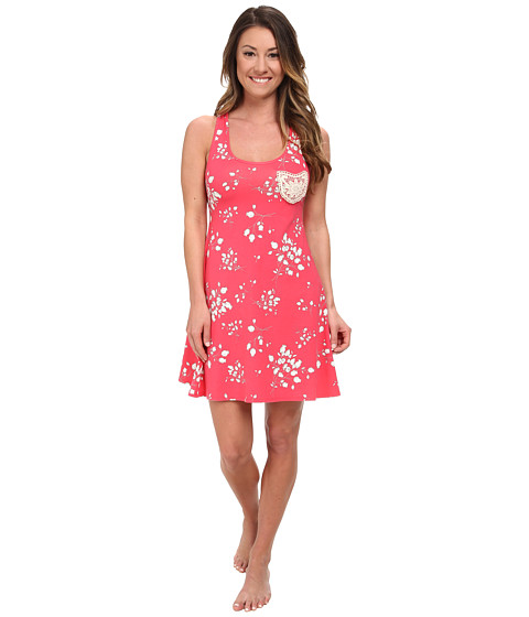 BedHead - Tank Nightdress w/ Taupe Appliqu (Rouge Flower Bouquet) Women