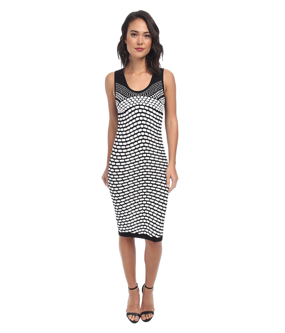 Nicole Miller - Pixel Jacquard Tank Dress (Black/White) Women's Dress