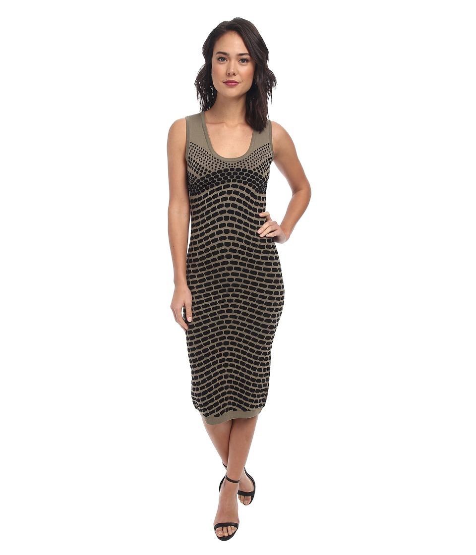 Nicole Miller - Pixel Jacquard Tank Dress (Chino/Black) Women