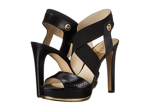 MICHAEL Michael Kors - Meadow Platform (Black Printed Solid Snake) High Heels