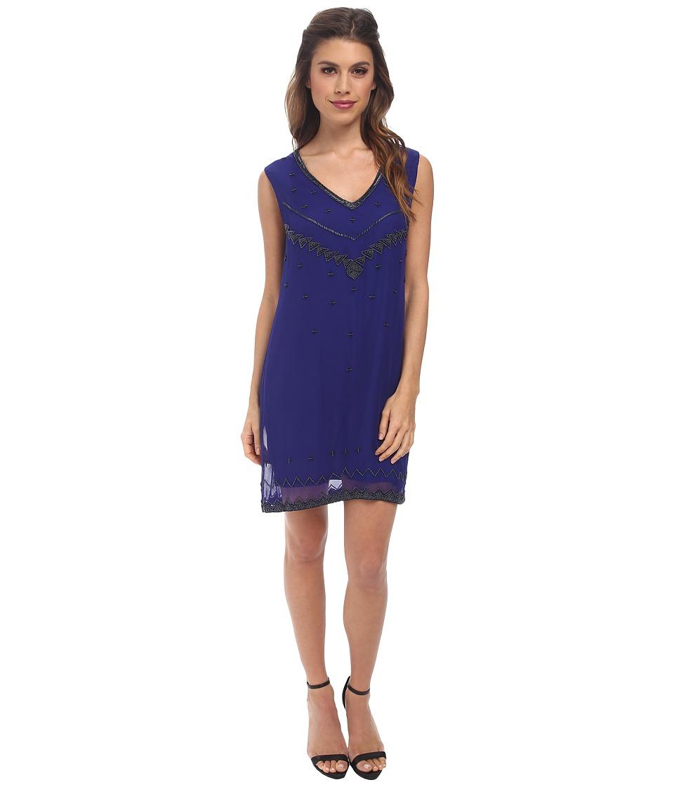 Nicole Miller - V-Neck Flapper Beading Shift Dress (Blue) Women