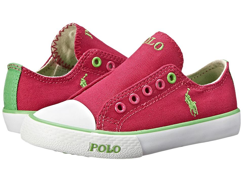 Polo Ralph Lauren Kids - Carson Laceless (Toddler) (Fuchsia Canvas/Green) Girl's Shoes