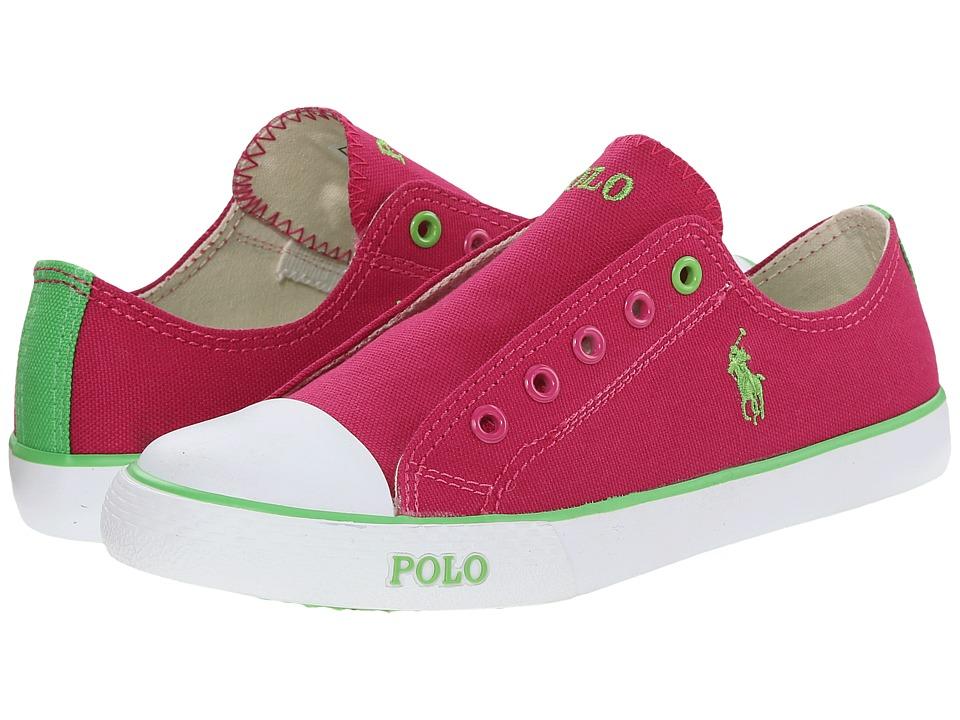 Polo Ralph Lauren Kids - Carson Laceless (Little Kid) (Fuchsia Canvas/Green) Girl's Shoes