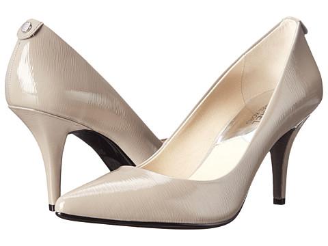 MICHAEL Michael Kors - MK-Flex Mid Pump (Pearl Grey Patent Saffiano) High Heels