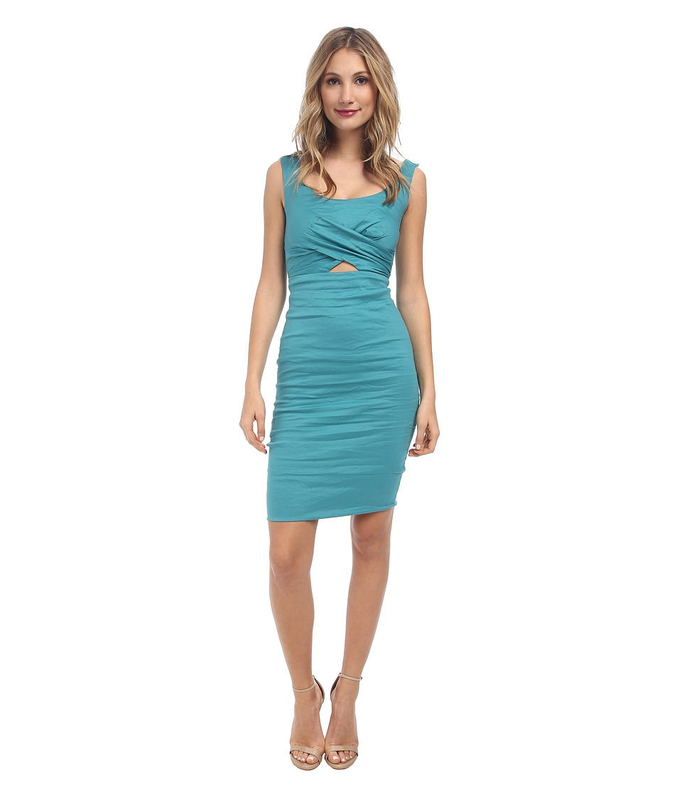 Nicole Miller - Talia Cotton Metal Peak-A-Boo Dress (New Lagoon) Women's Dress