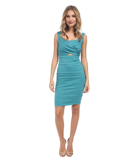 Nicole Miller - Talia Cotton Metal Peak-A-Boo Dress (New Lagoon) Women