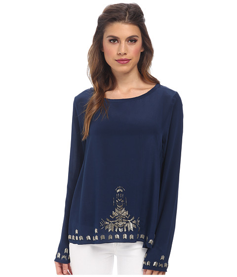 Nicole Miller - Tribal Bugle Bead Silk Top (Navy) Women's Clothing
