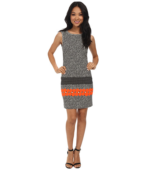Nicole Miller - Taylor Glow Jacquard Sheath Dress (Neon Orange) Women
